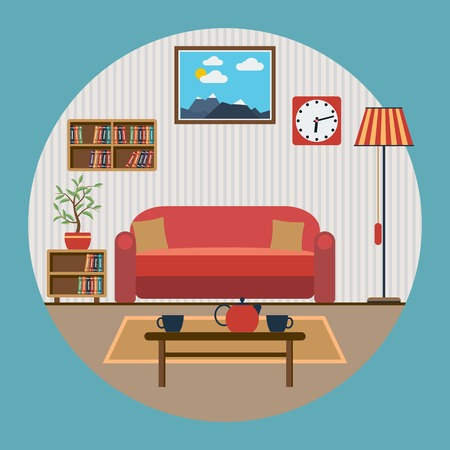 Woonkamer interieur platte vector illustratie Stock Illustratie