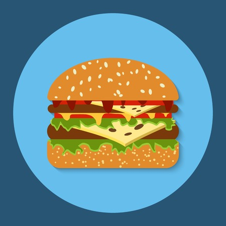 mustard seed: Hamburger flat vector icon