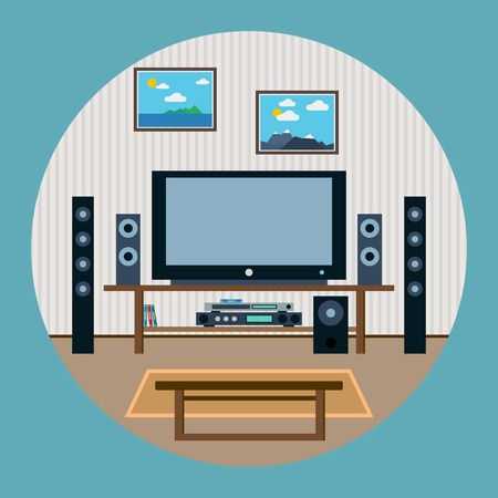 home theater: Home theater flat vector illustration