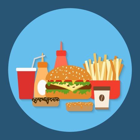 Fast food flat vector illustration Vector