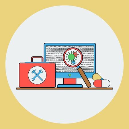 an antivirus: Antivirus protection vector concept Illustration