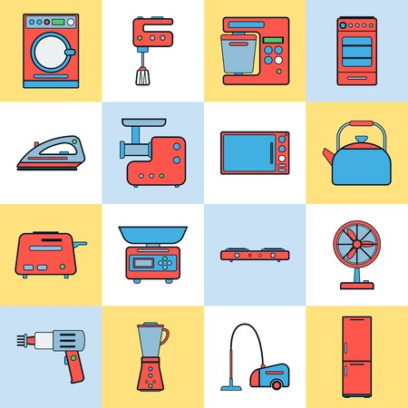 iron fan: Home appliances vector icons Illustration