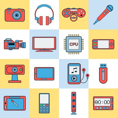 Modern electronic vector icons Illustration