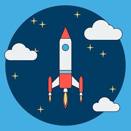 rocket launch: Lanzamiento de un cohete de la historieta Vectores