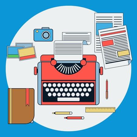 maquina de escribir: Lugar de trabajo con la m�quina de escribir retro ilustraci�n vectorial plana