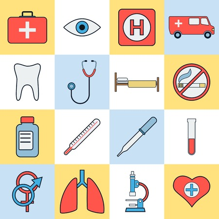 eye pipette: Medicine flat vector icons