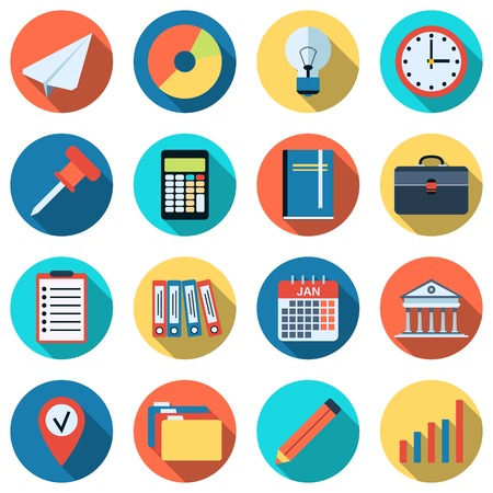 Business and office flat vector icons Illustration