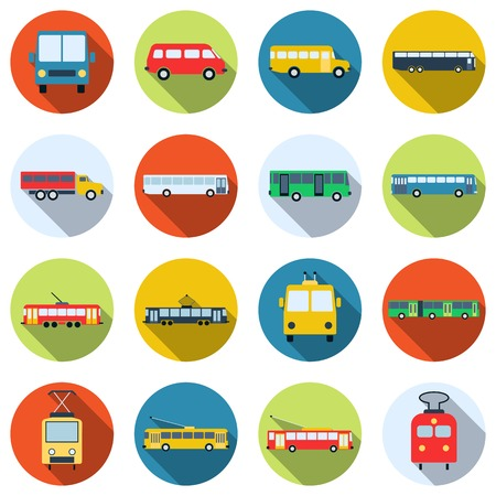 Buses, trams and trolleys icon collection