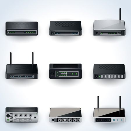 Network equipment icons Vectores