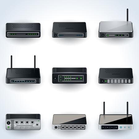 Network equipment icons Illustration