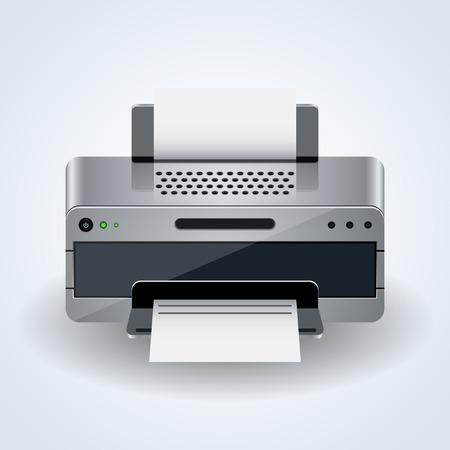 desktop printer: Modern desktop printer realistic 3d vector icon