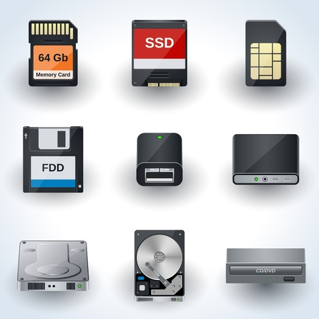 Data storage icon vector collection