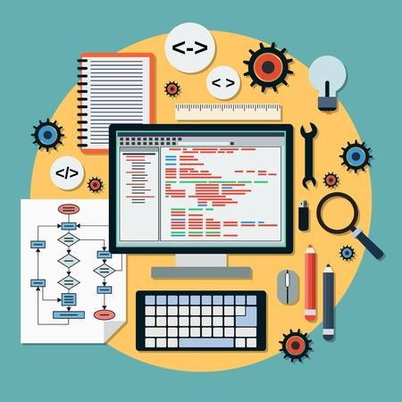 teclado: Programa vector concepto de codificaci�n Vectores