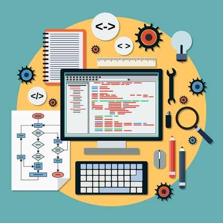 Program coding vector concept Illustration