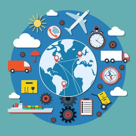 La livraison de la logistique et le concept de vecteur de transport Banque d'images - 40456695