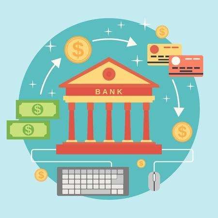 money: La banca en línea, transferencia de dinero, pago por clic vector de concepto Vectores