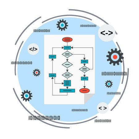 Application development, program coding, algorithm optimization concept Иллюстрация
