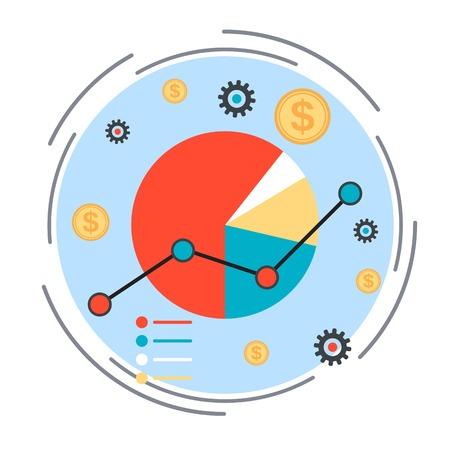 investigando: Carta de asunto, estadísticas financieras, análisis de mercado concepto