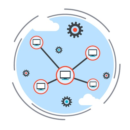 synchronizing: Computer network, cloud computing, remote control concept