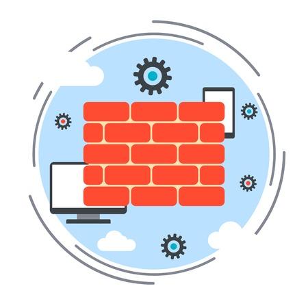 Computer security, data protection, antivirus guard, firewall vector concept Иллюстрация