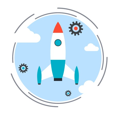 cartoon rocket: Business startup, cartoon rocket launch vector concept Illustration