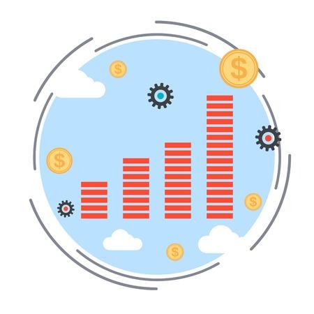 increase diagram: Financial diagram, profit increase, business statistics vector illustration Illustration