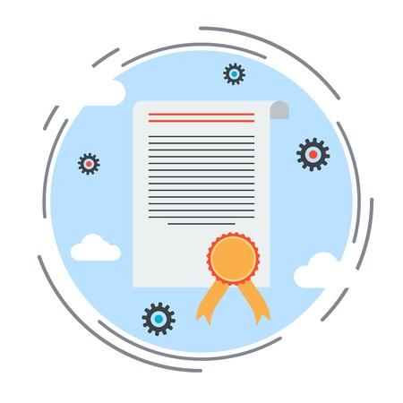 oorkonde: Certificaat, diploma, handvest platte ontwerp stijl vector illustratie