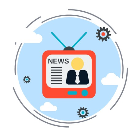 newscast: Newscast, information, broadcasting flat design style vector illustration Illustration