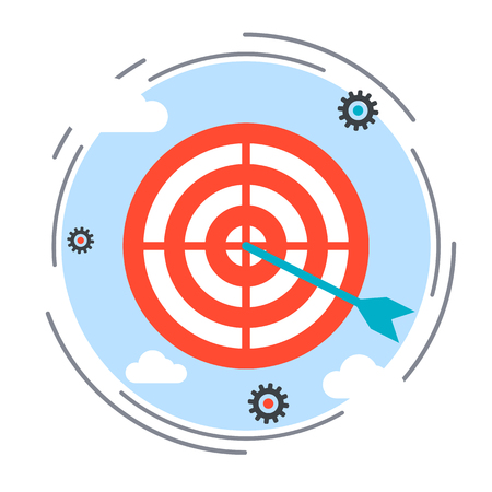 Target and arrow flat design style vector icon