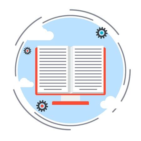 book vector: E-book, online book, electronic reader, distance education vector concept