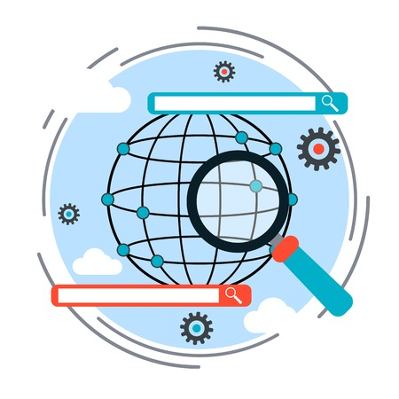 Search engine optimization process, web search and data analysis concept