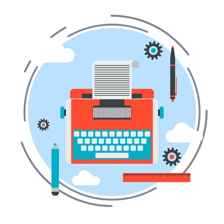 old typewriter: Retro typewriter flat design style icon