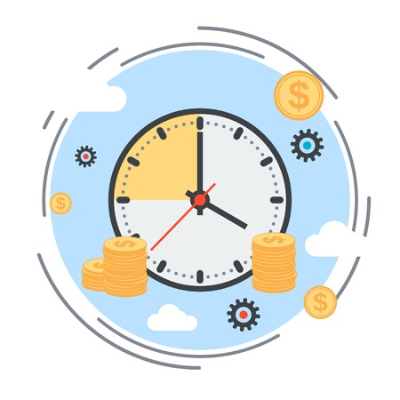 Time is money, time management, business planning vector concept