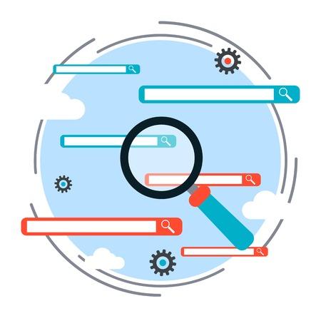 international monitoring: Search engine optimization process, web search vector concept Illustration