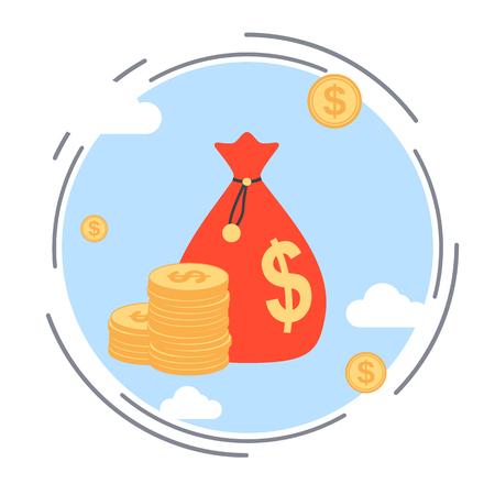 Sac d'argent, investissement financier, l'accumulation de la richesse, les fonds bancaires concept de vecteur Banque d'images - 45136492