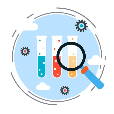 research science: Science research flat design style vector concept illustration Illustration