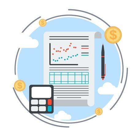 document management: Plan de negocios, la gestión, el informe financiero del vector concepto Vectores