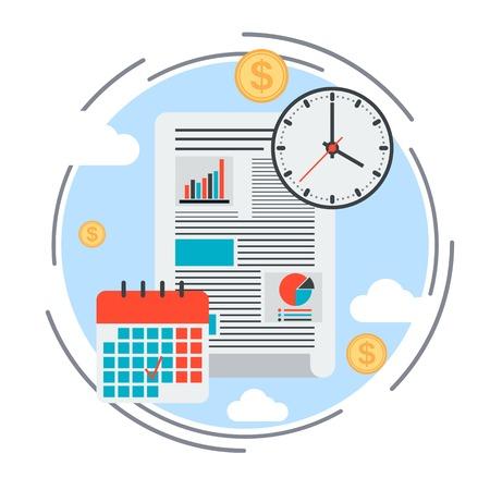 Business plan, time management, financial report vector concept