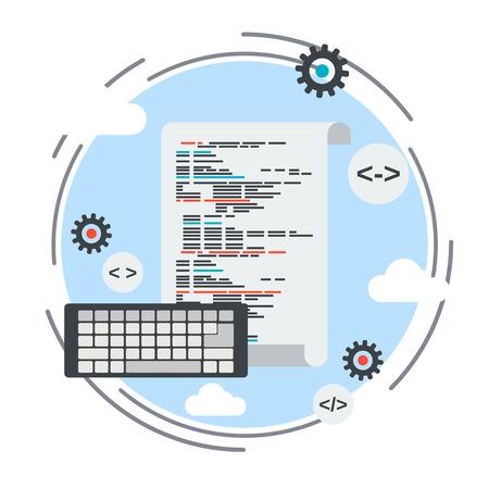 coding: Program coding, application development, SEO process, algorithm optimization vector concept