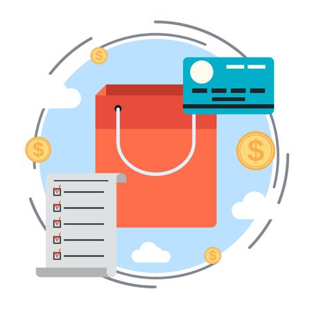 task list: Task list, shopping, credit card vector concept