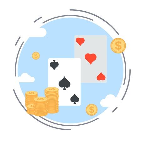 jeu de carte: Jeu de cartes, le succ�s, gagnant, strat�gie illustration vectorielle Illustration
