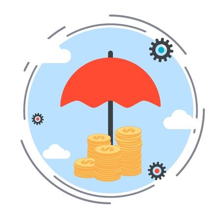 protecci�n: Seguros, protecci�n de los fondos, vector de concepto de seguridad financiera