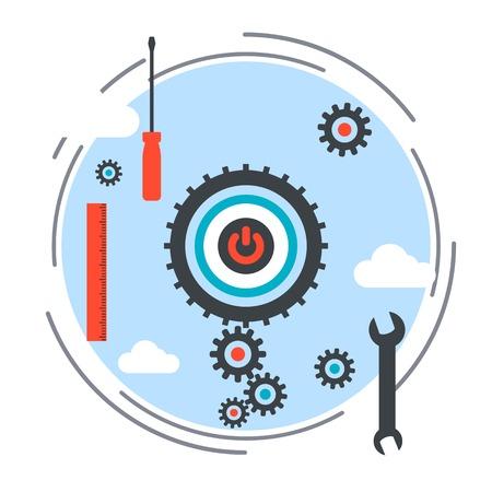 debugging: Application development, program debugging, SEO process vector concept