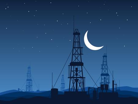 Oil and gas rigs over night desert vector illustration 向量圖像
