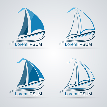 recreation yachts: Yacht vector icons