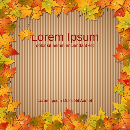 old paper background: Autumn old paper background with colorful leaves frame Illustration