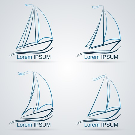 sailing vessel: Yacht vector icons
