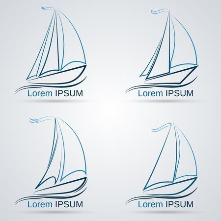 sailing boats: Yacht vector icons