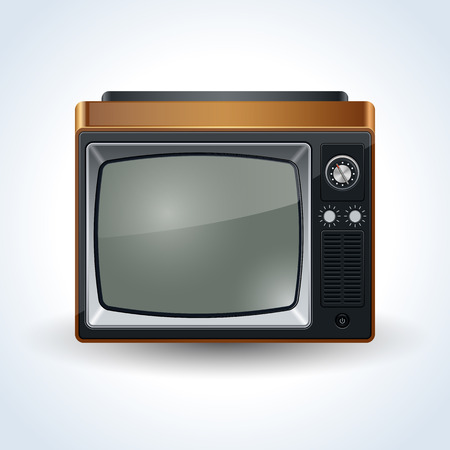 media equipment: Old TV set realistic vector icon Illustration