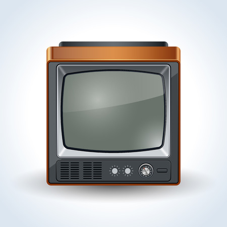 television aerial: Old TV set realistic vector icon Illustration